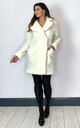 Janine Teddy Coat in Cream With Double Breasted Fit by De La Creme Fashions