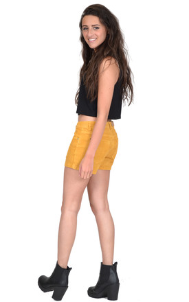 Yellow Cord Hot Pant Shorts by Glamour Outfitters