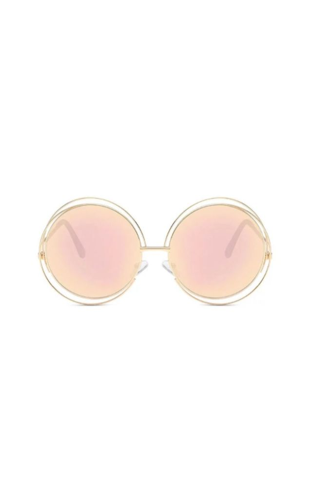 Louisa Large Double Circle Pink Sunglasses by Don't Be Shady
