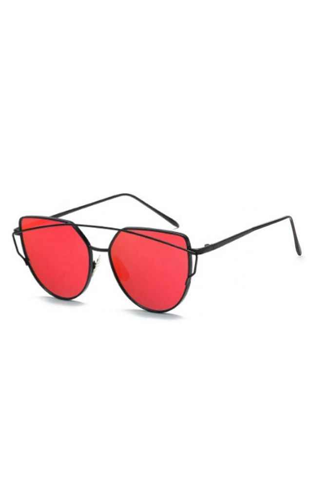 Lucy Mirror Cat Eye Red Sunglasses by Don't Be Shady