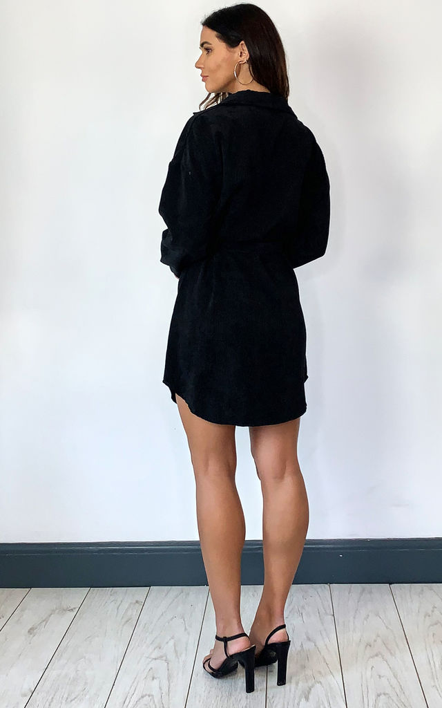 Cord Belted Shirt Dress In Black Cord by KURT MULLER