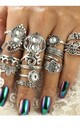 Silver Vintage Funky Rhinestone Ring set (15 pack) by GIGILAND