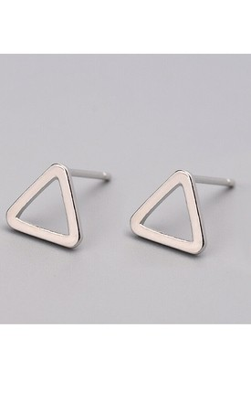 Silver Hollow Triangle Stud Earrings by GIGILAND