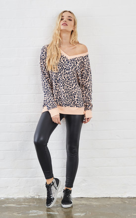 Kerra Animal Print v neck Sweat top in pink by Sundae Tee