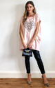 Oversized Side Pocket Bat Wing Diamante Heart T-Shirt in Pink by Gini London