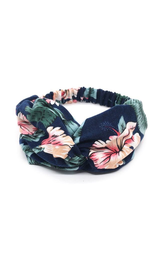 Hair Band in Navy and Pink Floral Print by White Leaf
