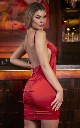 Red Satin Backless Mini Dress by Mimi Clothing