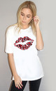 Red Leopard Lip Tshirt in White by Sade Farrell