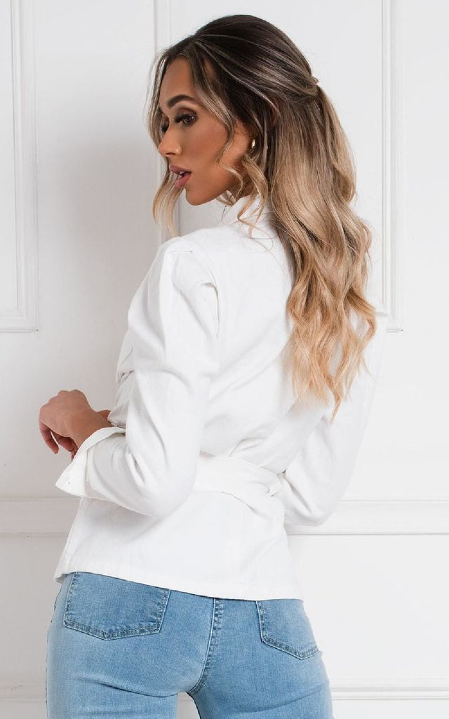 Darla Denim Jacket in White by IKRUSH
