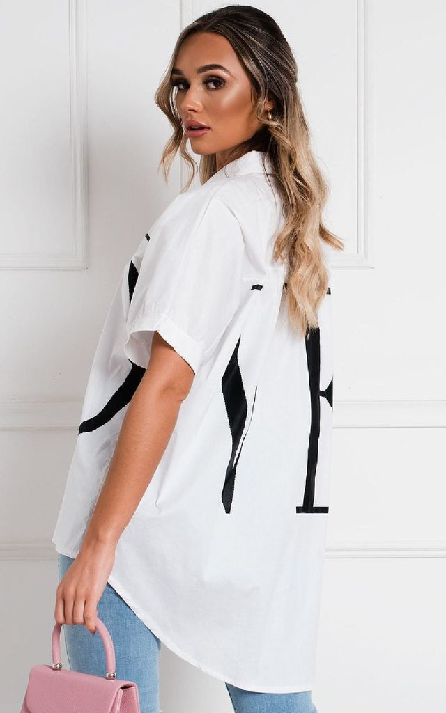 Lulu Love Oversized Shirt in White by IKRUSH