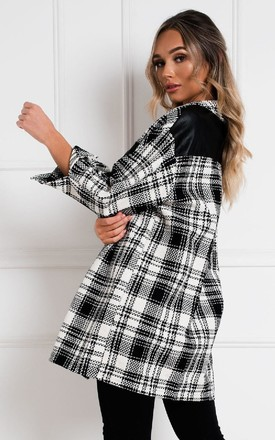 Jen Checked Shirt Jacket in Black/White by IKRUSH