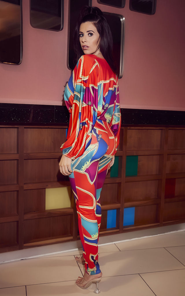 Multi Coloured abstract Print Batwing Jumpsuit by Mimi Clothing