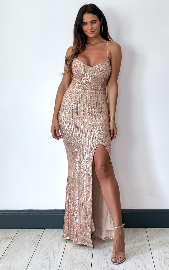 Big Dreams Rose Gold Tie Back Sequin Slit Maxi Dress by Nazz Collection