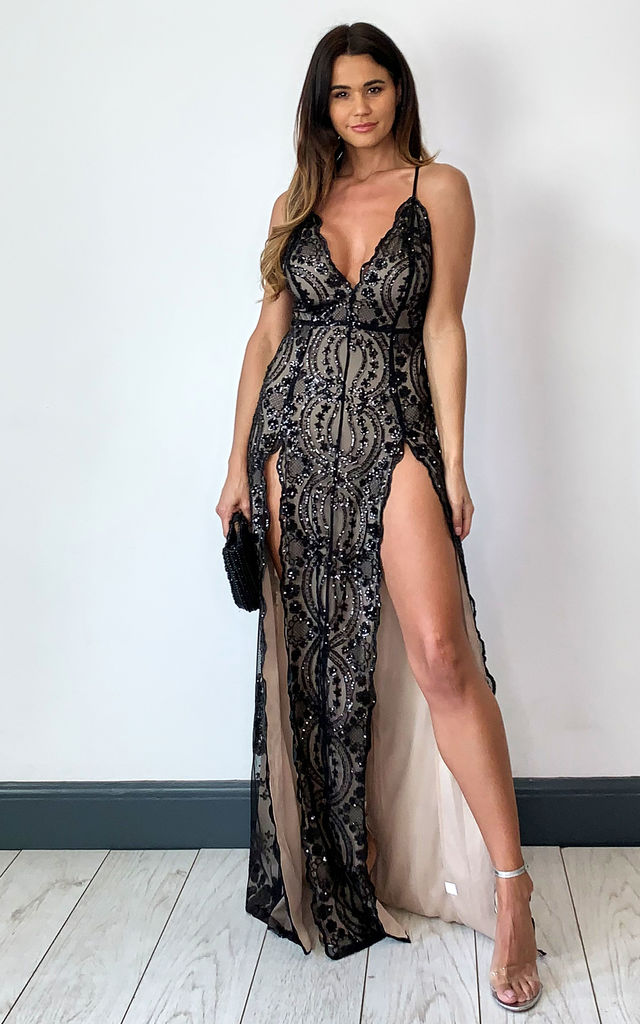 On a High Black floral sequin double split maxi dress by Nazz Collection