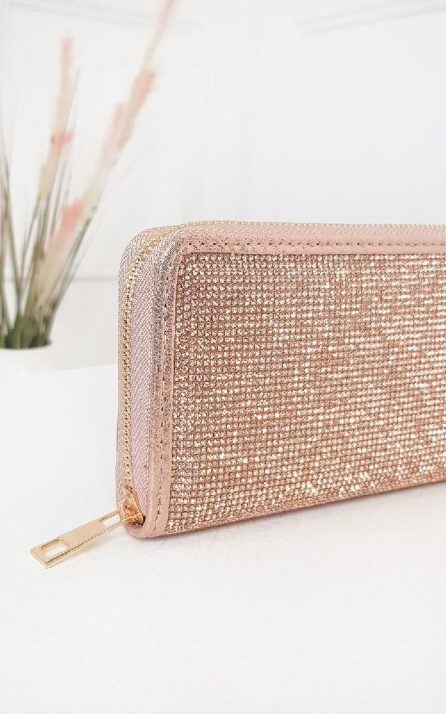 Luv Diamante Zip Purse in Champagne by IKRUSH