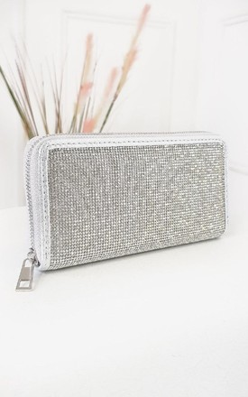 Luv Diamante Zip Purse in Silver by IKRUSH