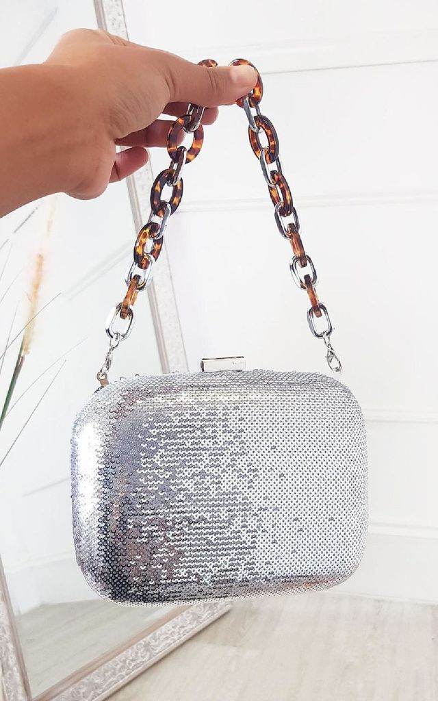 Connie Sequin Embellished Handbag in Silver by IKRUSH