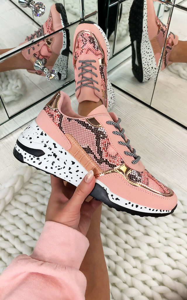 Collins Chunky Lace Up Trainers In Pink by Larena Fashion