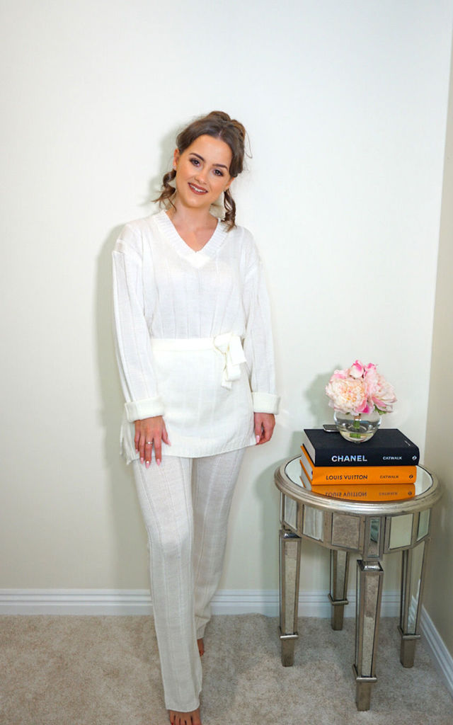 Cream Ribbed Loungesuit Co-ord by Styled Clothing