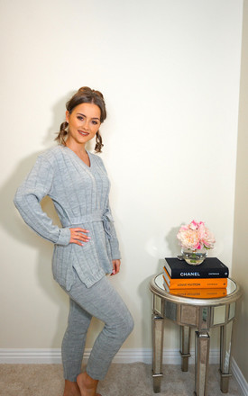 Grey Ribbed Loungesuit Co-ord by Styled Clothing
