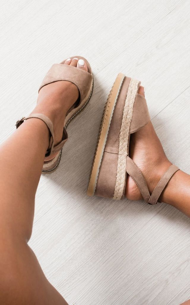 Jamie Faux Suede Flatform Sandals in Mocha by IKRUSH