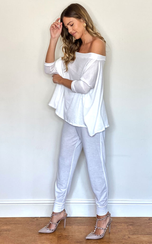 White Crop jogger co-ord suit by Mccullock Women