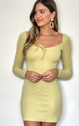 Elasticated Ruched Longsleeve Mini Dress In Lime by MISSTRUTH