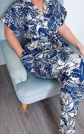 Kara Printed Jumpsuit in Navy by IKRUSH