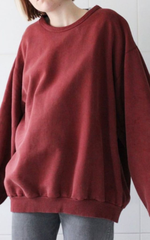 Oversized Burgundy Jumper Sweater Top by Top Threads