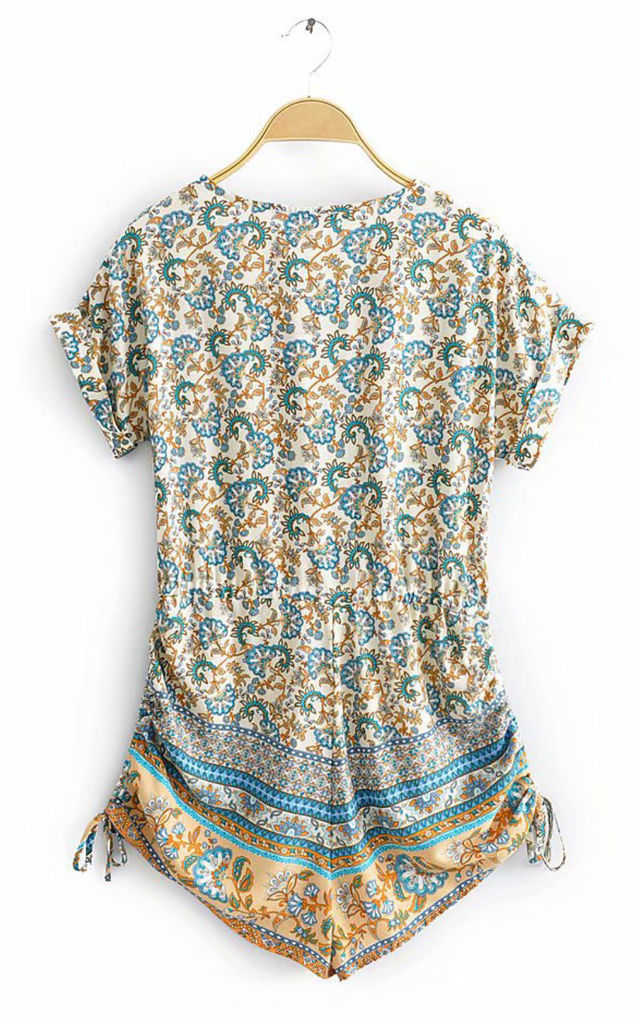 Playsuit With Drawstring Detail In Blue and Mint Mixed Print by FS Collection