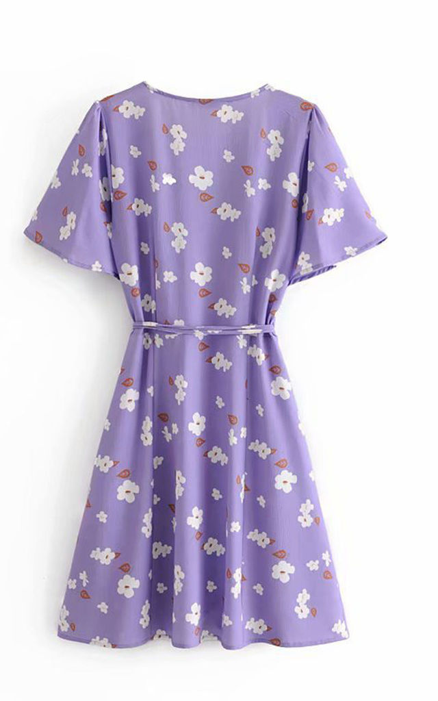 Angel Sleeve Mini Wrap Dress In Purple With Flower Print by FS Collection