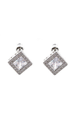 SQUARE CUBIC ZIRCONIA EARRINGS in silver by LOES House