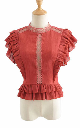 Crochet Sleeveless Blouse In Red by FS Collection