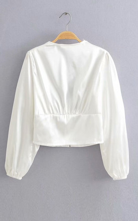 Satin V Neck Puff Sleeve Crop Blouse In White by FS Collection