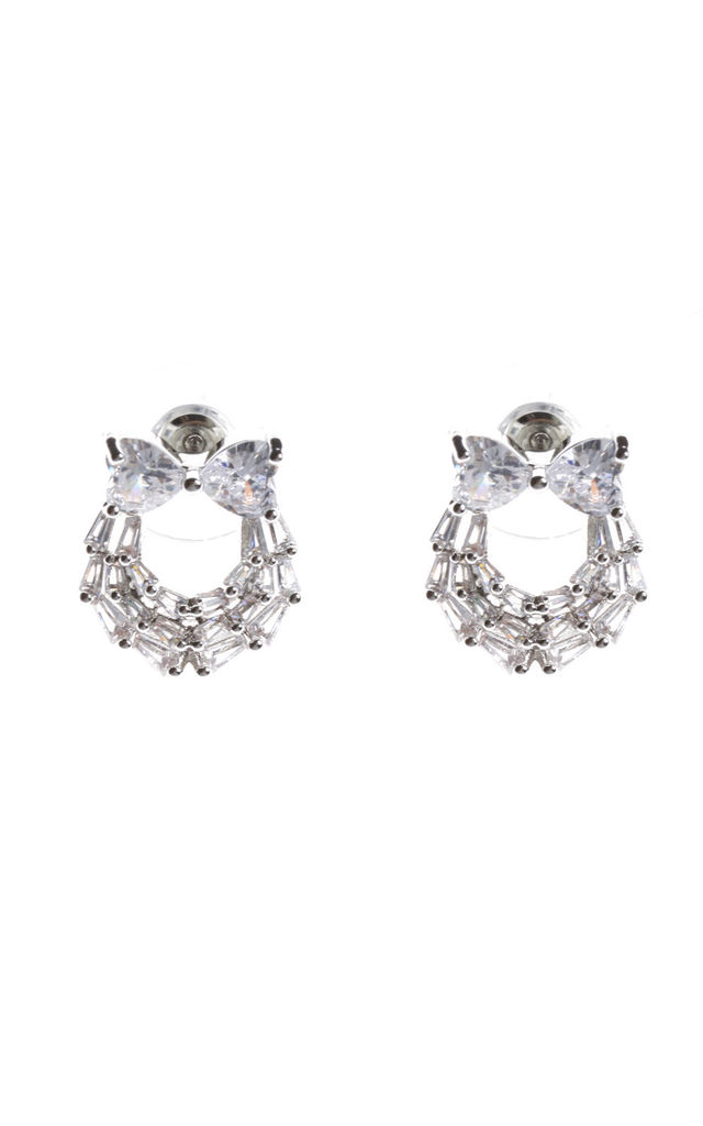 CUBIC ZIRCONIA BOW PIERCED EARRINGS in silver by LOES House