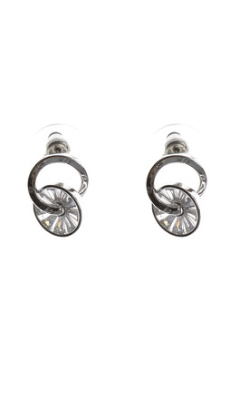 Cubic Zirconia Interlink Earrings in Silver by LOES House