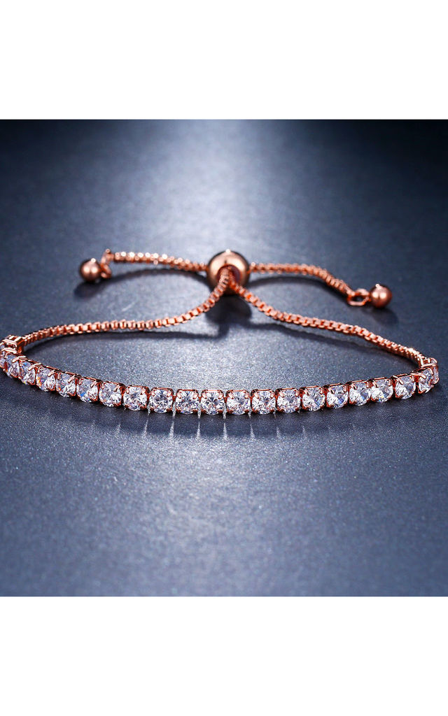 Rose Gold Crystal Adjustable Rope Tennis Bracelet by Always Chic