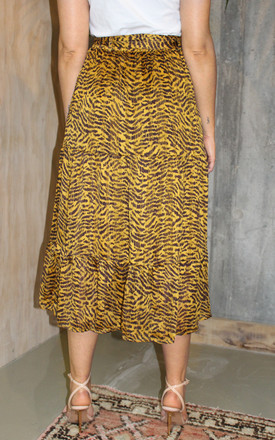 Silky Satin Animal Leopard Print Layered Skirt by Another Style London