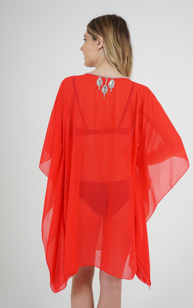Red Mesh Kaftan with Teardrop Crystal Detailing by Trillion London