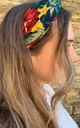 Hair Band in Black with Orange and Yellow Floral Print by White Leaf