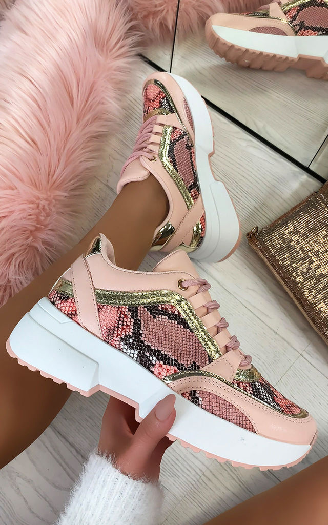 Sarai Lace Up Trainers in Pink by Larena Fashion