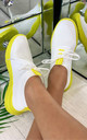 Chase The Sun Slip On Sock Trainers in White Yellow by Larena Fashion