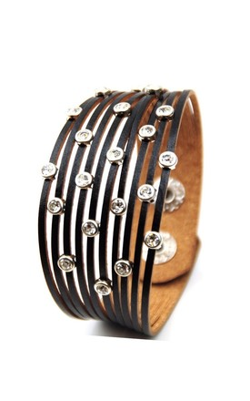 Black Diamante Multi Layer Faux Leather beaded Cuff Bracelet by GIGILAND