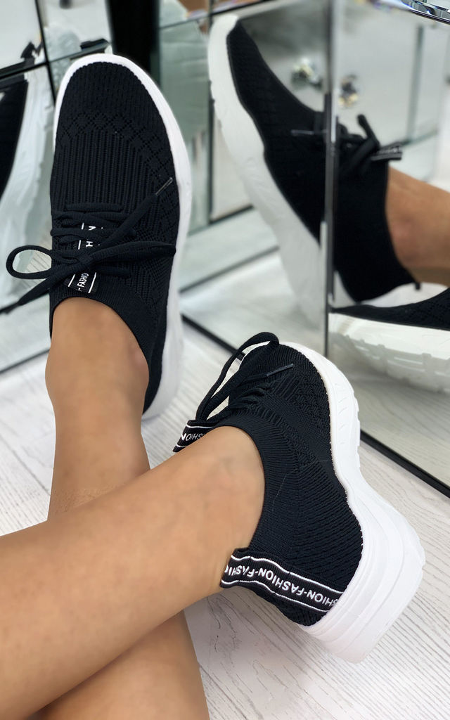Chase The Sun Slip On Sock Trainers In Black by Larena Fashion