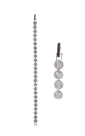 Classic Round Cubic Zirconia Chain Bracelet In Silver by LOES House
