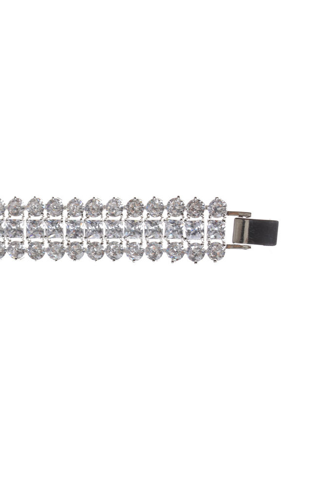 3 Rows Cubic Zirconia Bracelet in Silver by LOES House