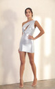 One Shoulder Cut Out Bodycon Mini Dress In Silver by Miss Floral