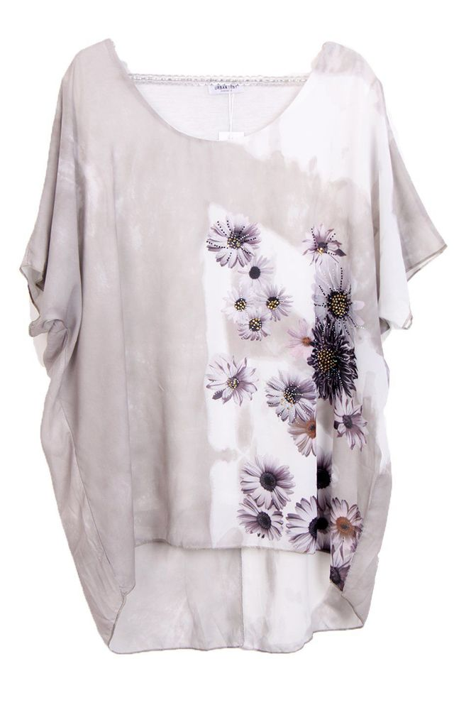 Oversized FLORAL PRINT SILKY TOP with Diamante detail in Grey by LOES House