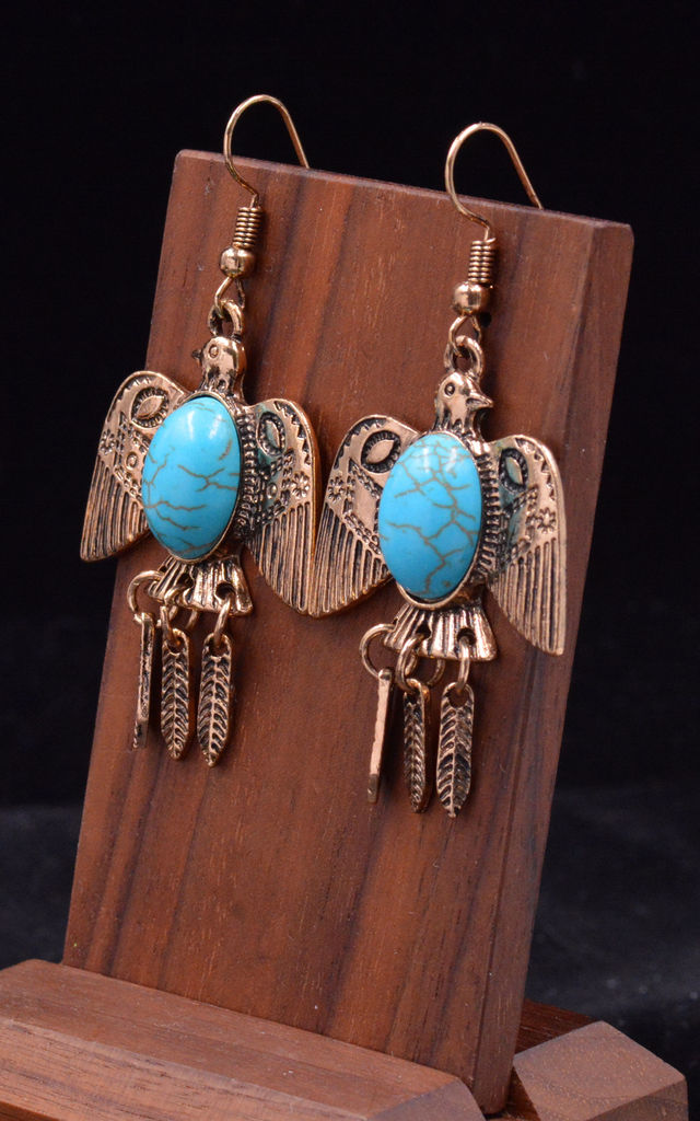 Antique Gold Tone Flying Eagle Bird Drop Hook Earrings with Turquoise Blue Beads by Silver Rain