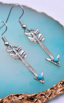 Antique Silver Tone Arrow  Head Design Drop hook Earrings, Boho Style by Silver Rain